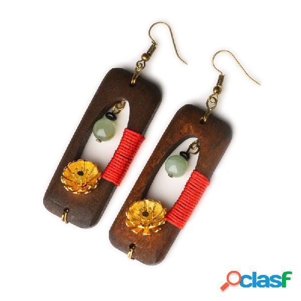 Orecchini di giada di legno fatti a mano etnici Orecchini di