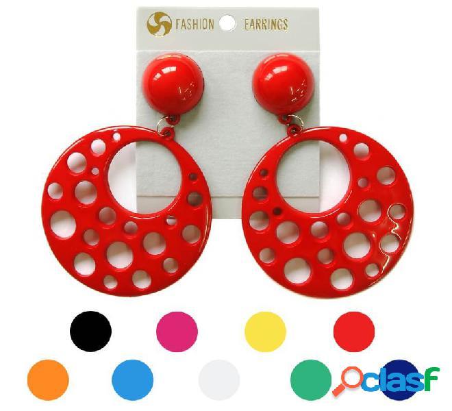 Orecchini flamenco circolari con fori in vari colori
