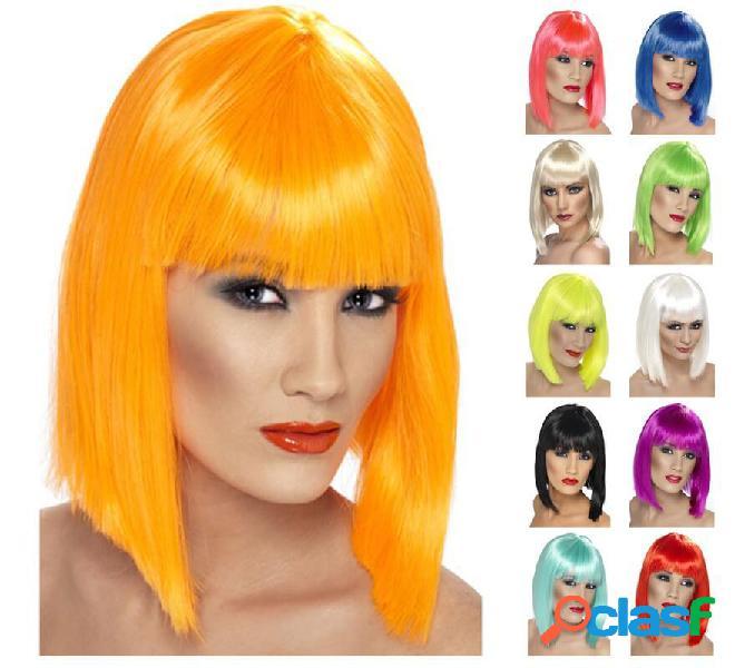 Parrucca a pelo medio con frangia in vari colori