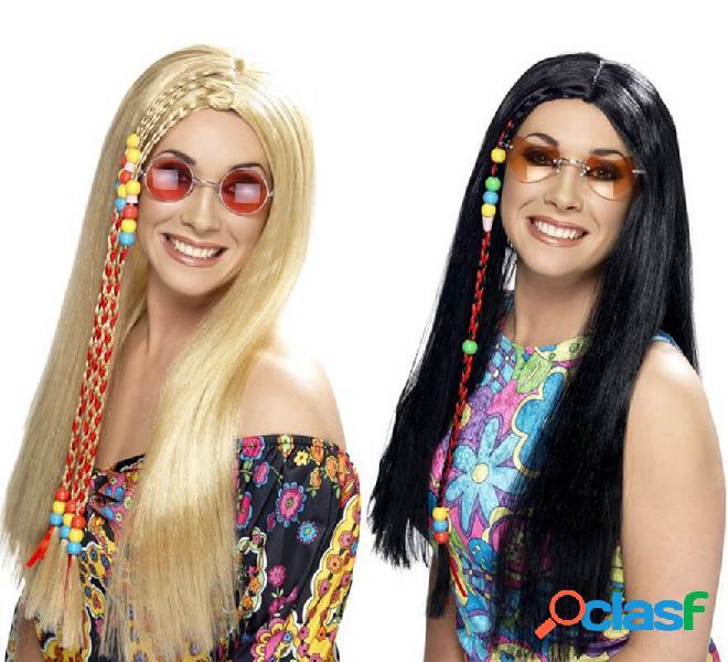 Parrucca hippy party con perline colorate per donna in vari