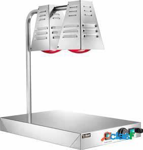 Piano caldo in inox con 2 lampade a raggi infrarossi - 60 cm