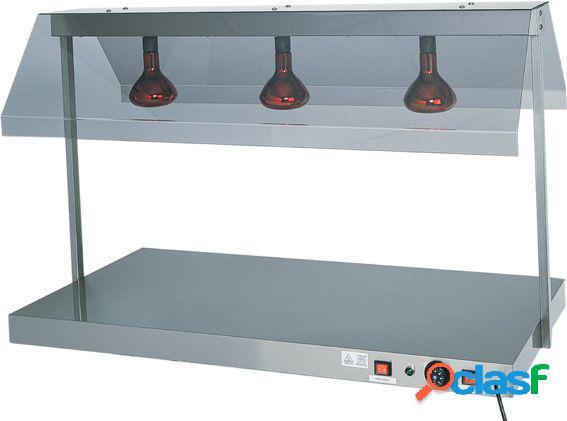Piano caldo in inox con 3 lampade a raggi infrarossi