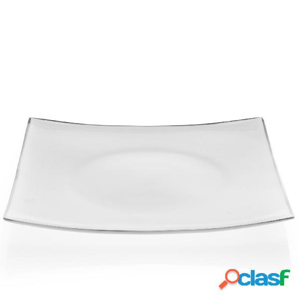 Piatti Piani quadrati in porcellana ELISABETH Filo platino 6