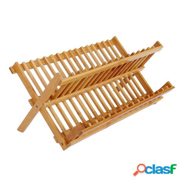 Pieghevole piatto di bambù stendino piatto tazza