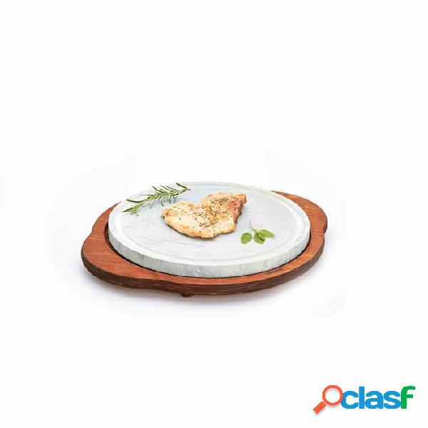 Pietra Ollare Bisetti Rotonda Su Base Di Legno Cm 30 -