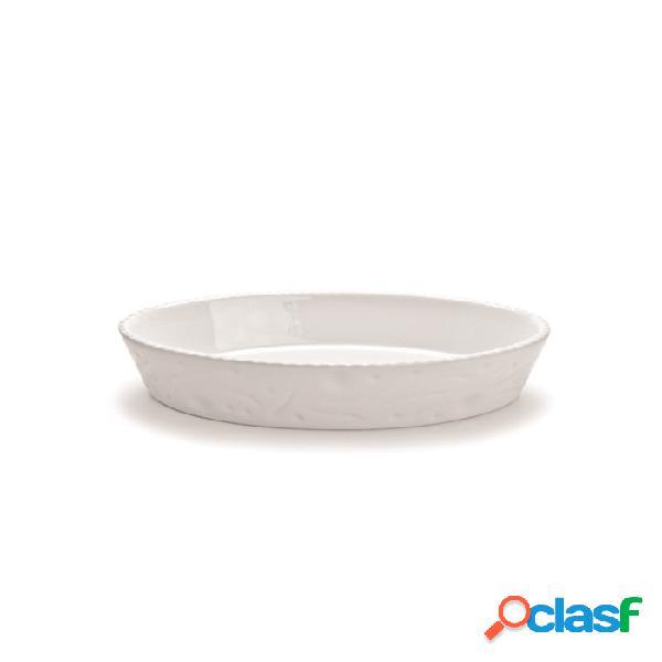 Pirofila Ovale Cordonata In Porcellana Bianca Cm 32X18x4,5 -