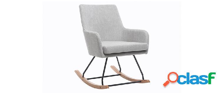 Poltrona sedia a dondolo design in tessuto grigio chiaro