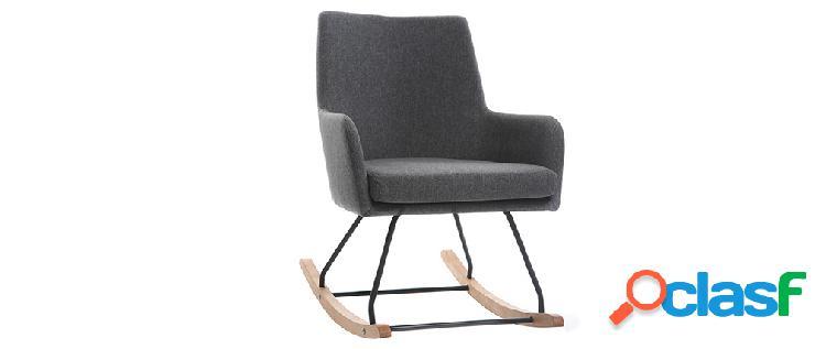 Poltrona sedia a dondolo design in tessuto grigio scuro