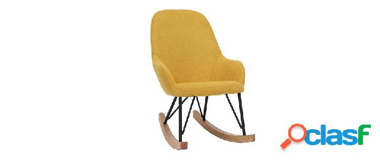 Poltrona sedia a dondolo per bambini giallo piedi in metallo