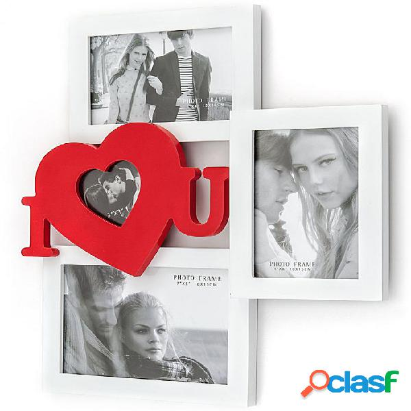 Portafoto da Muro I love You Bianco e Rosso