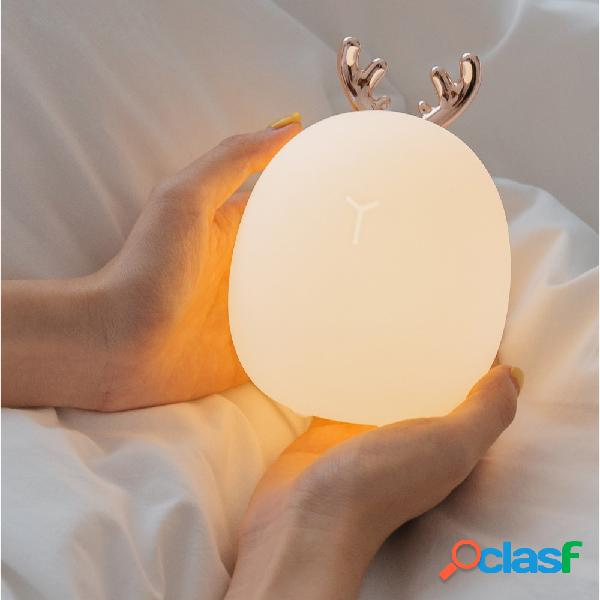 Rabbit Fawn Silicone LED Night Light Luce bianca calda USB