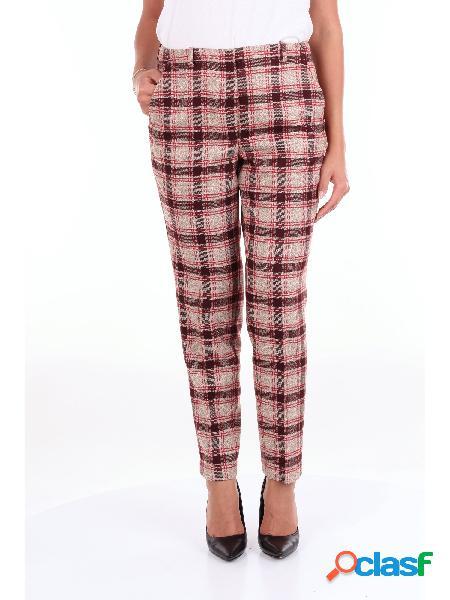 SLOWEAR SLOWER - PANTALONE Pantalone Donna Beige e bordeaux