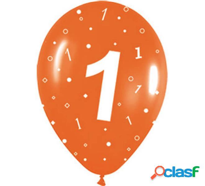 Sacchetto di 10 palloncini in lattice con il numero 1