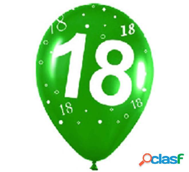 Sacchetto di 10 palloncini in lattice con il numero 18