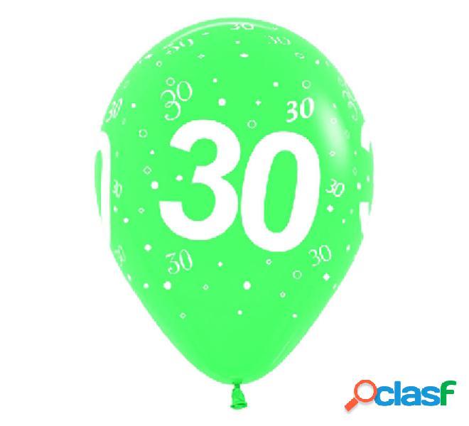 Sacchetto di 10 palloncini in lattice con il numero 30