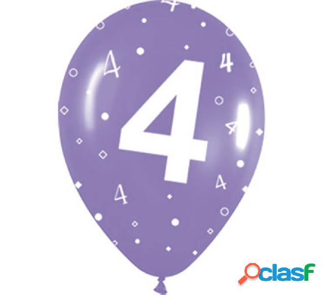 Sacchetto di 10 palloncini in lattice con il numero 4