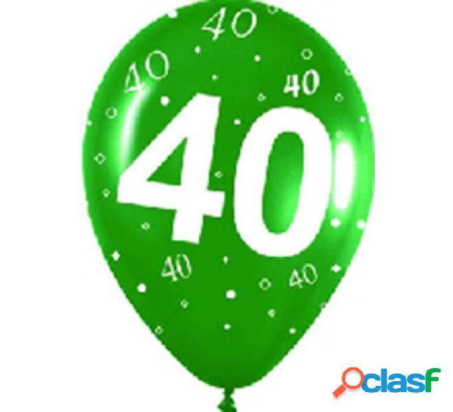 Sacchetto di 10 palloncini in lattice con il numero 40