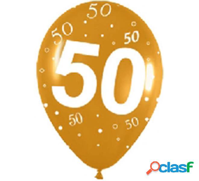 Sacchetto di 10 palloncini in lattice con il numero 50