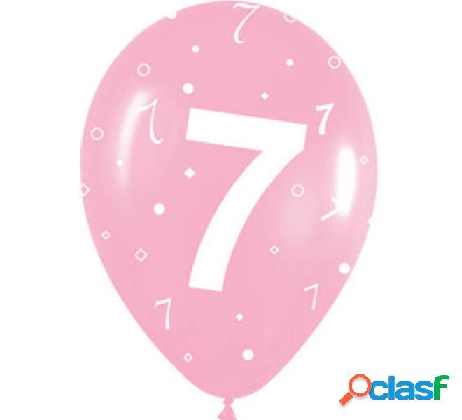 Sacchetto di 10 palloncini in lattice con il numero 7 di 30