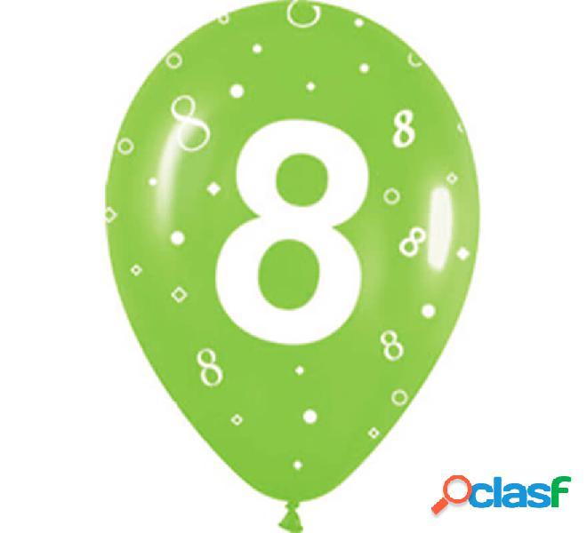 Sacchetto di 10 palloncini in lattice con il numero 8