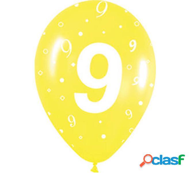 Sacchetto di 10 palloncini in lattice con il numero 9