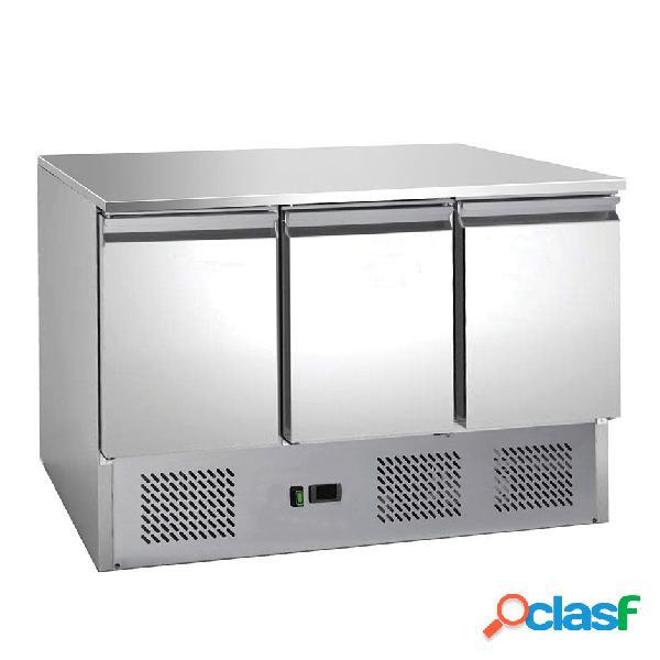 Saladette 3 porte con refrigerazione statica e piano in inox
