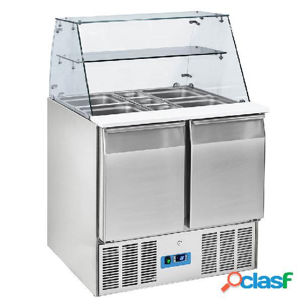 Saladette refrigerata GN1/1 con 2 porte e vetrina aperta