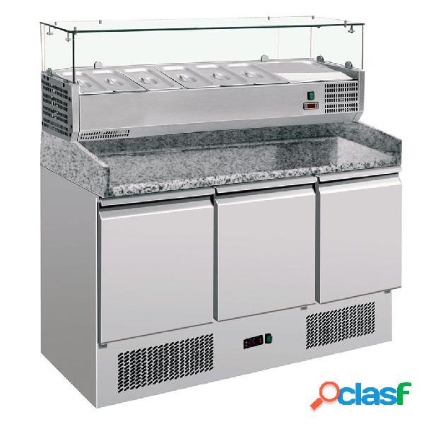 Saladette refrigerazione statica predisposta per 6 bacinelle