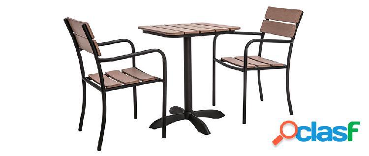 Salotto da giardino con tavolo bistrot e 2 sedie nere e