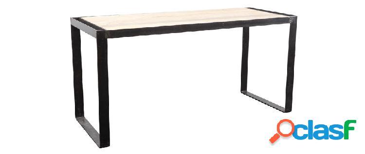 Scrivania design industriale legno massiccio L156 cm