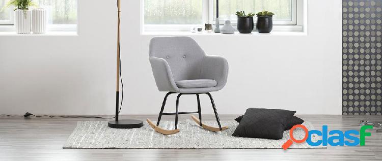 Sedia a dondolo design in tessuto grigio chiaro KENDALL