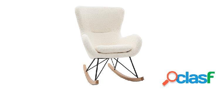 Sedia a dondolo design in tessuto pelle di pecora bianca