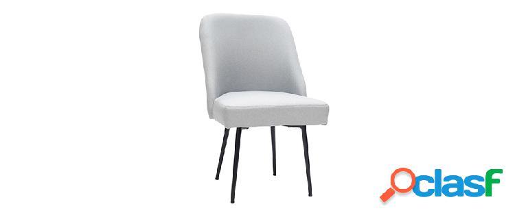 Sedia design in tessuto grigio chiaro e piedi in metallo