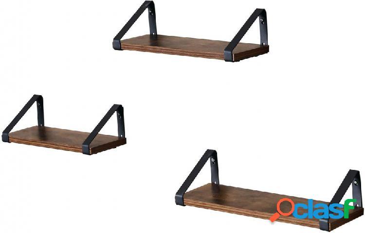 Set 3 Mensole in Stile Industriale con Supporti 3Misure