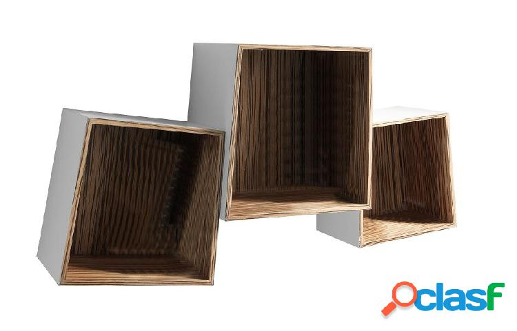 Set 3 mensole Cubi da Muro in Legno Laccato