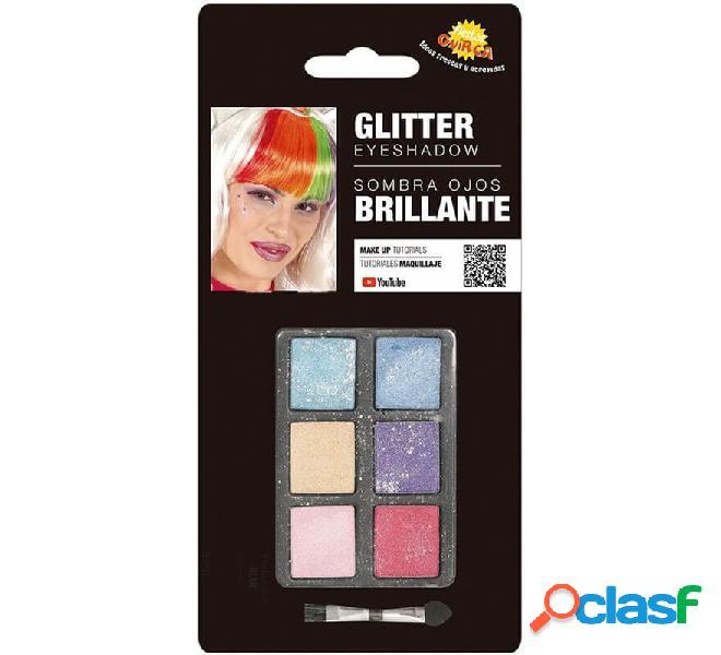 Set di trucco con 6 colori con glitter e pennello