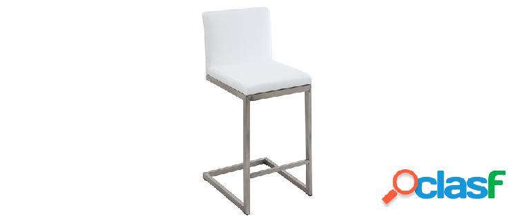 Sgabello da bar design contemporaneo - alluminio e PU bianco