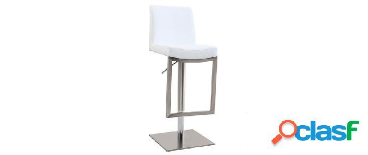 Sgabello da bar design contemporaneo - metallo e PU bianco -