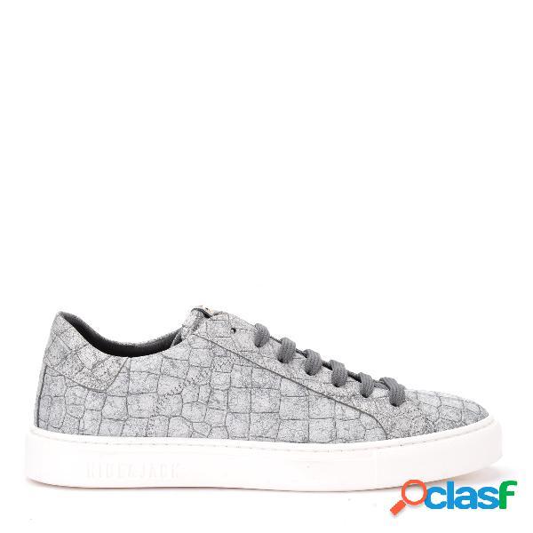 Sneaker Hide&Jack Croco in pelle bianca e argento