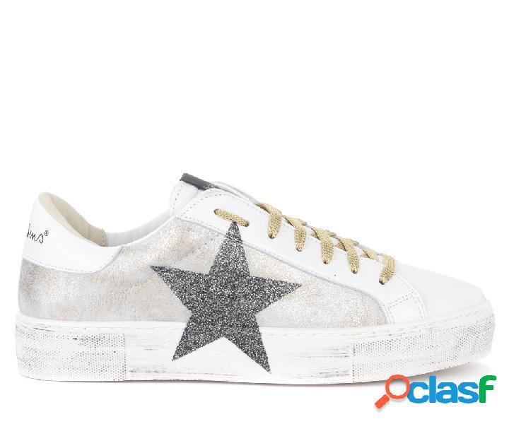 Sneaker Nira Rubens Martini in pelle bianca e argento con