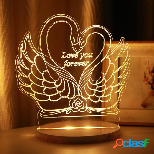 Swan 3D LED Night Light USB Powered Touch Control Natale San