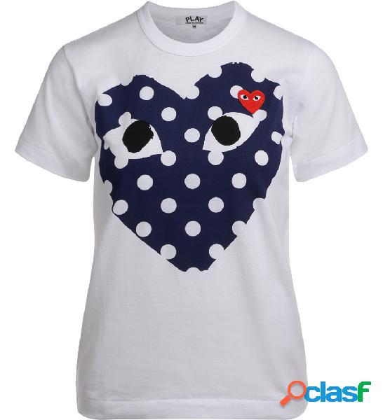 T-Shirt Comme Des Garçons PLAY con cuore blu a pois