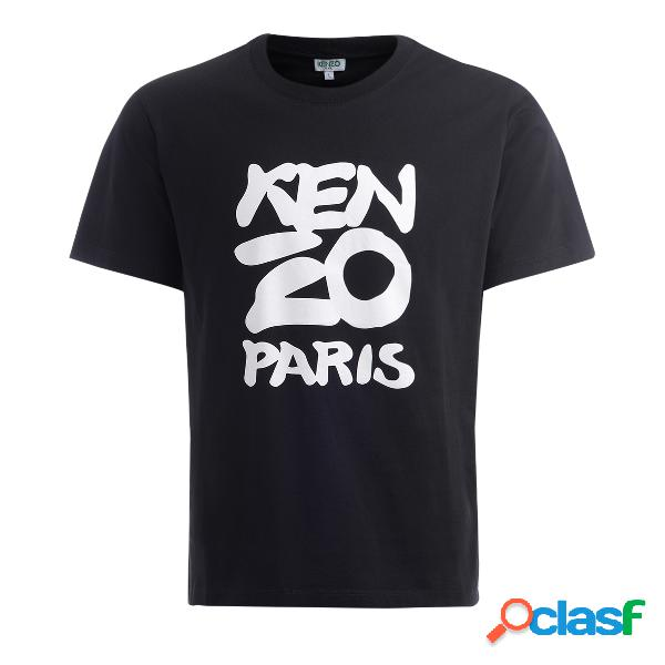 T shirt Kenzo Paris in cotone nero con logo