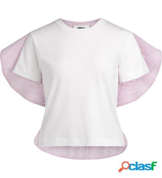 T-shirt camicia MM6 Maison Margiela bianca a righe