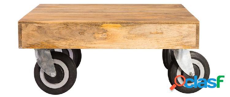 Tavolino design industriale quadrato con rotelle 80x80cm