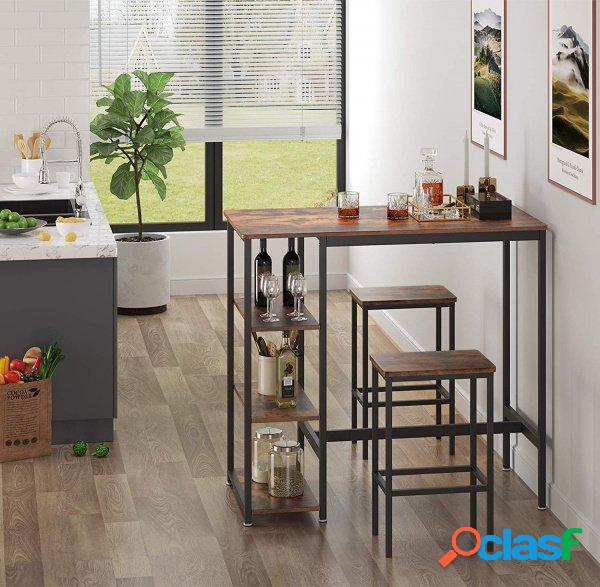Tavolo Bar Bancone + 2 Sgabelli Stile Industriale con