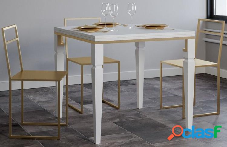 Tavolo Quadrato Moderno Bianco e Oro Allungabile
