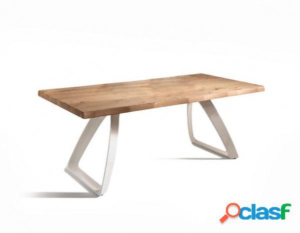 Tavolo da Pranzo Allungabile in Legno e Base Bianca 300 cm