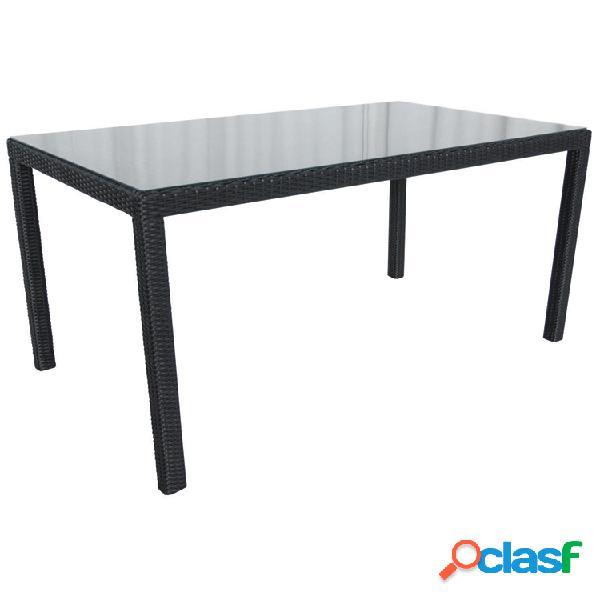 "Tavolo da giardino ""Samos"" 160x90 in vimini nero"