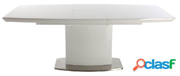 Tavolo da pranzo design allungabile bianco brillante